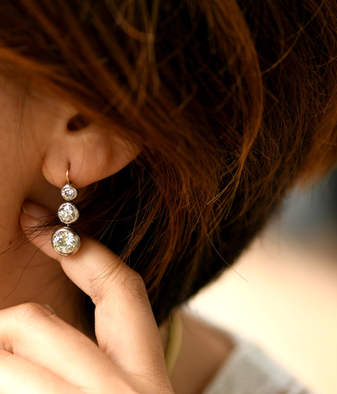 Victorian Old Mine Cut Diamond Gold Drop Dangle Earrings Sold Dandelion Antiques